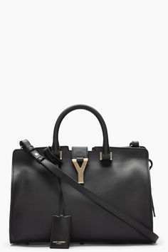 SAINT LAURENT Black leather and gold logo Macho tote