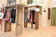 Dishfunctional Designs: New Takes On Old Doors: Salvaged Doors Repurposed as clothing racks Salvaged Doors, Old Doors, Repurposed Doors, Porte Diy, Old Window Shutters, Vitrine Design, House Tweaking, Recycled Door, Portable Closet