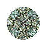 Mint Green Turquoise Retro Nouveau Deco Pattern Round Clock  #Clock #Deco #Green #mint #Nouveau #Pattern #Retro #Round #RusticClock #Turquoise The Rustic Clock