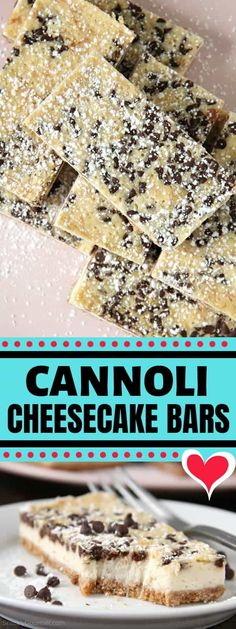 Cannoli Cheesecake Bars - easy Italian cheesecake with ricotta, mascarpone, orange, and chocolate chips cheesecake recipe Cannoli Cheesecake Bars (Easy Italian Dessert) - Snappy Gourmet Dessert Simple, Italian Cheesecake, Cheesecake Recipes, Cannoli Cheesecake Recipe, Vegan Cheesecake, Cupcakes, Mascarpone Recipes, Chocolate Cheesecake, Savoury Cake