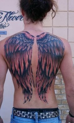 Good and Evil Angel Wings Tattoos Wing Tattoo Men, Wing Tattoos On Back, Wing Tattoo Designs, Back Tattoo, I Tattoo, Tattoo Wings, Breast Cancer Tattoos, Cancer Ribbon Tattoos, Unique Cross Tattoos