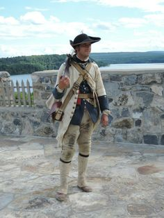 French Line Regiment Languedoc, the  reenactor represents a fusilier in the summer of 1755