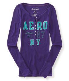 Long Sleeve Aero NY 87 Henley - Aeropostale