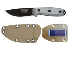 ESEE Knives Model 3P Plain Edge Blade, Black Finish with Coyote Sheath and Belt Clip Plate -- This is an Amazon Affiliate link. You can get additional details at the image link.