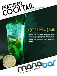 Cocktail Hour Drink- Legend of Zelda inspired Cocktails, Non Alcoholic Drinks, Cocktail Recipes, Beverages, Game Cocktail, Cocktail Ideas, Bacardi Rum, Alcohol Recipes, Drink Recipes