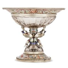 Viennese Silver, Enamel and Rock Crystal Cup For Sale at Silver Enamel, Antique Silver, Vases For Sale, Crystal Vase, Mason Jar Wine Glass, Rock, Decorative Objects, Cut Glass, Crystals