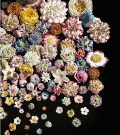 Eighteenth and nineteenth century porcelain flowers auctioned at Christie's.