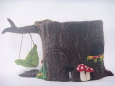 TreeHouse Sculpture - Needle Felted Gnome Home / Fairy House - Waldorf Play Tree Stump