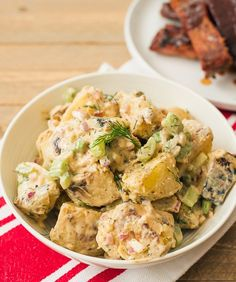 Buffalo Ranch Potato Salad To give a little kick to traditional potato salad, this tangy buffalo ranch version is a must. Just grill the potatoes until tender; add in onions, celery, dill, buttermilk and buffalo ranch dip; chill until ready to serve.