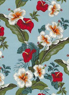 Vintage Aloha - Hibiscus & Anthurium - Lt Blue - BARK CLOTH