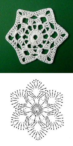 snowflake 665 Crochet Stars, Crochet Snowflakes, Christmas Snowflakes, Crochet Granny, Crochet Motif, Crochet Flowers, Crochet Top, Christmas Crafts, Crochet Patterns