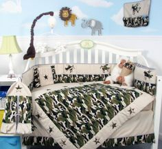 SoHo Boy Camouflage Army Baby Crib Nursery Bedding Set 13 pcs included Diaper Bag with Changing Pad & Bottle Case Best Quilted Comforter, Set USA Camo Crib Bedding, Baby Girl Crib Bedding, Baby Boy Cribs, Nursery Crib, Nursery Bedding Sets, Baby Boy Rooms, Camo Nursery, Baby Room, Babies Nursery