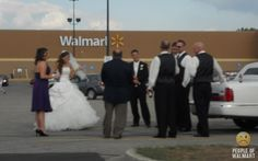 Sarcasm! Because beating the hell out of people is illegal!: Walmart Weddings ... One stop shop!! lol