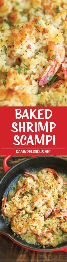 shrimp recipes Baked Shrimp Scampi - This is the easiest yet fanciest dish of all - tender shrimp baked with buttery breadcrumbs, garlic and lemon juice. Just 10 min prep! Fish Recipes, Seafood Recipes, Cooking Recipes, Recipies, Bread Recipes, Shrimp Dishes, Fish Dishes, Fancy Dishes, Main Dishes
