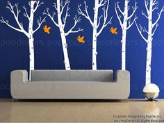 """Set of Five Super Big Trees with Flying Birds (102"""" H) - Wall Decals Murals Stickers Home Decor by Pop Decors"""