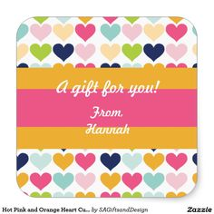 """Hot Pink and Orange Heart Custom Birthday Sticker #stickers  Create custom stickers for any occasion! Customize a variety of existing designs or add your own photo, logo or text. The perfect choice for any message or design, square stickers are great for brand promotion, special mailings, and scrapbooking. •Available in 2 sizes◦Large: 3"""" x 3"""" (6 per sheet) ◦Small: 1.5"""" x 1.5"""" (20 per sheet) •High quality, full-color, full-bleed printing •Scratch-resistant front, easy peel-and-stick back"""