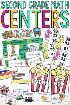These second grade math centers are fun, independent, easy activities for your 2nd grade students to complete during guided math stations. They include skills such as place value to 1000, shapes, word problems, skip counting, 2-3 digit addition, 2-3 digit subtraction, telling time to the nearest 5 minutes, and counting coins to $1.00.