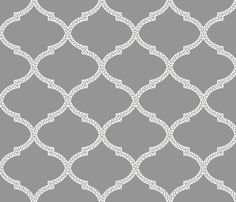 Valencia Trellis in Gray and Snow fabric by sparrowsong on Spoonflower - custom fabric
