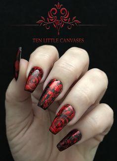 Valentine Rose nail design - hand drawn.