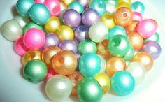 50pcs 8mm Pastel Shiny Glass Pearls