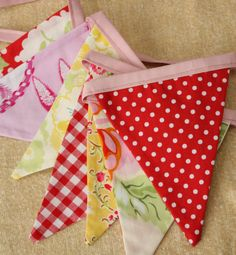 Designer/'s Choice Fabric Pennant Flags Surprise Pink and Blue Party Decor Shabby Chic Bunting Medium Flags Photo Prop.