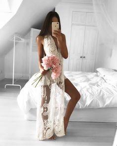 Sheath White Deep V-neck Split Floor-length Prom Dress with Lace