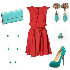 coral & turquoise