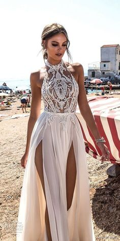 New halter white prom dress,high slit wedding dress,sexy evening dress with . - - New halter white prom dress,high slit wedding dress,sexy evening dress with lace ,charming wedding on Storenvy Source by frankawindsberger Prom Dress With Train, Slit Wedding Dress, Wedding Dresses 2018, Dress Up, Prom Gowns, Dress Prom, Revealing Wedding Dresses, Open Dress, Evening Dresses For Weddings