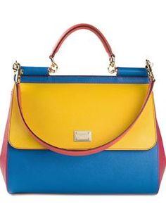 Blue and gold handbag