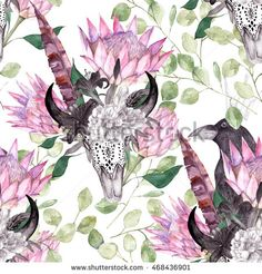 Watercolor ethnic seamless pattern with protea and skull. Gothic floral print for wrapping, wallpaper, fabric