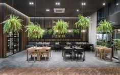 Galería de La Carnería De Rincón Nuestro / Constanza Peláez + Sofía Carrer - 2 Retail Interior Design, Bar Interior, Interior Decorating, Restaurant Lounge, Restaurant Design, Cafe Design, Coffee Shop, Floor Plans, Flooring
