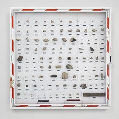 """tomsachs:  At The Noguchi Museum  exhibition: """"Museum of Stones""""  October 7, 2015 - Sunday, January 10, 2016.  Shown here are rock samples collected from the surface of Mars in 2012 during Space Program 2.0: Mars. After collection these rocks were thoroughly cataloged, photographed and analyzed at Sachs Research Laboratory in New York City.  Mars Rocks, 2012 Con-ed, plywood, hardware, Mars Geology Samples 73.5 H x 73.5 W x 7.25 D inches S/N: 2012.153"""