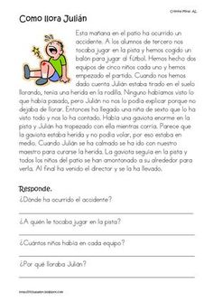 Title: lECTURAS COMPRENSIVAS Author: Montse ns, Length: 31 pages, Published: Spanish Grammar, Spanish Teacher, Spanish Classroom, Math Classroom, Spanish Lessons For Kids, Learning Spanish For Kids, Spanish Teaching Resources, Learn Spanish, First Grade Reading Comprehension