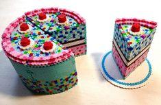 3d torte basteln mit bügelperlen bastelidee