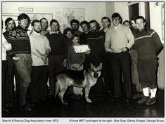 SARDA meet, c1972.  Kinloss MRT contingent at far right - Bob Gray, Davey Sharpe & George Bruce.