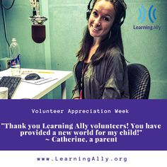 It's national volunteer week! What do human-narrated audiobooks mean to you? THANK YOU, Volunteers! Volunteer Week, Struggling Readers, Learning Disabilities, Dyslexia, Volunteers, Disability, Audio Books, The Voice, Actors