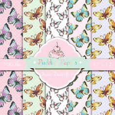 Sweet Butterflies  Instant Download  Digital by puddingpapers, $2.50