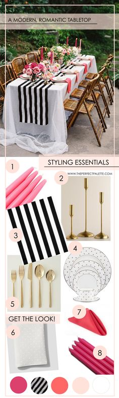 Get the Look: A Modern + Romantic Tabletop - www.theperfectpalette.com - Shades of Pink + Black and White Stripes
