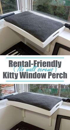 A way to give your cat a window-perch, if you aren't allowed to screw into your walls and like OMG! get some yourself some pawtastic adorable cat apparel! Cat Window Perch, Cat Perch, Diy Cat Tree, Cat Trees, Cat Run, Cat Hammock, Cat Shelves, Pet Furniture, Cat Accessories