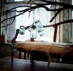 magic blue mason jars