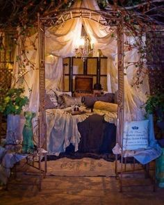 40 Enchanting outdoor bedroom ideas for dreamy sleep Fanciful Linen Bed Scarfs ~ Reading Nook. Change out the color scheme and you have perfection! The post 40 Enchanting outdoor bedroom ideas for dreamy sleep appeared first on Evelyn Simoneau. Romantic Bedroom Design, Whimsical Bedroom, Romantic Master Bedroom, Master Bedroom Design, Beautiful Bedrooms, Romantic Bedrooms, Magical Bedroom, Bohemian Bedrooms, Trendy Bedroom