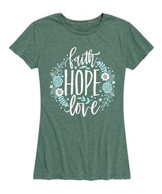 Instant Message Womens Heather Juniper Faith Hope Love Floral Wreath Relaxed-Fit Tee - Women & Plus | Zulily