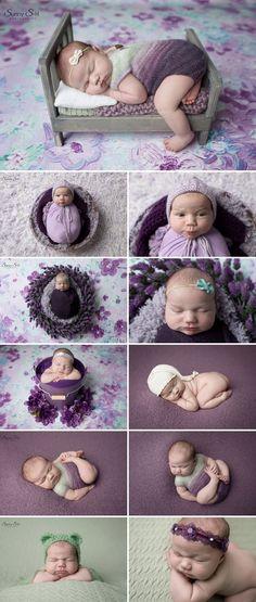 9 day old Kayla and her purple and green inspired studio newborn photo shoot. Sunny S-H Photography Winnipeg #photographyfornewbies