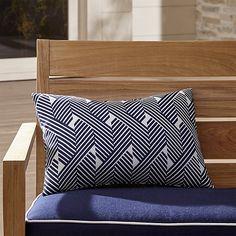Knot Striped Outdoor Lumbar Pillow | Crate and Barrel