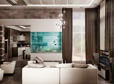 salon contemporain de luxe avec un aquarium spectaculaire encastré dans le mur devant le canapé blanc