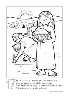 17      En el desierto no tenían pan. No podían comer.      Dios les ayudó…