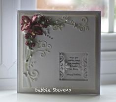 Morning everyone, Im back with a card to show you, items used are Spellbinders elegant branch, Spellbinders renaissance tags 2, Sue Wilson Noble squares. little butterfly punch , flowers from wild …