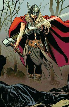 Thor (Jane Foster) by Steve Epting Female Avengers, Female Thor, New Avengers, Marvel Women, Marvel Girls, Marvel Heroes, Marvel Comics, Marvel Universe, Comic Books Art