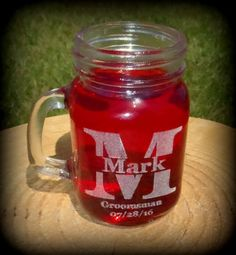 Bride & Groom Mason Jar Shot Glasses Wedding by BPLaserEngraving