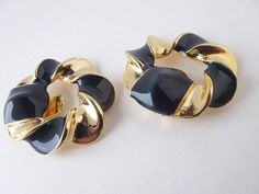 80s 1980s clip on earrings black blue gold and by AlbertsAttic